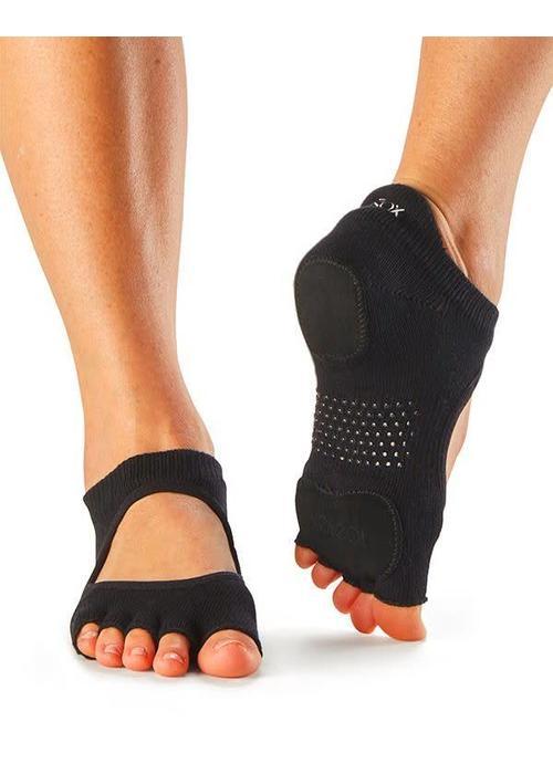 Toesox Toesox Yoga Sokken Prima Bellarina Open Tenen - Zwart