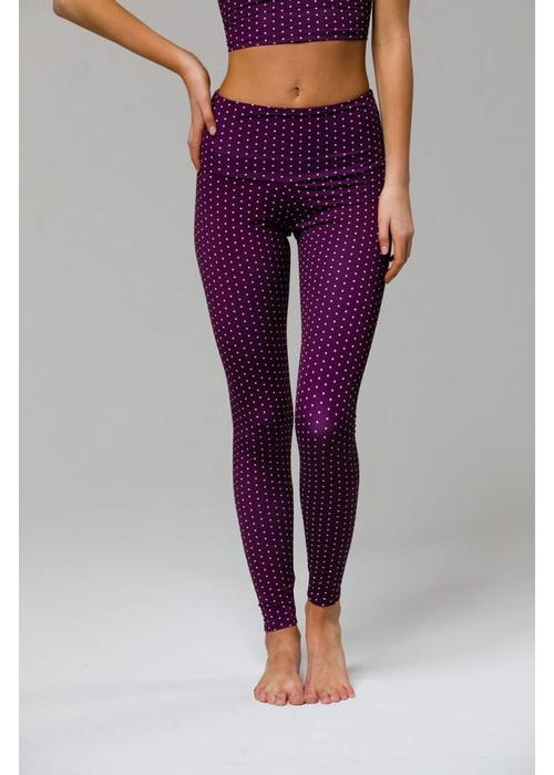 Onzie Onzie High Rise Legging - Aubergine Dot