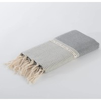 Fouta Shawl - Nid d'Abeille Grey Striped