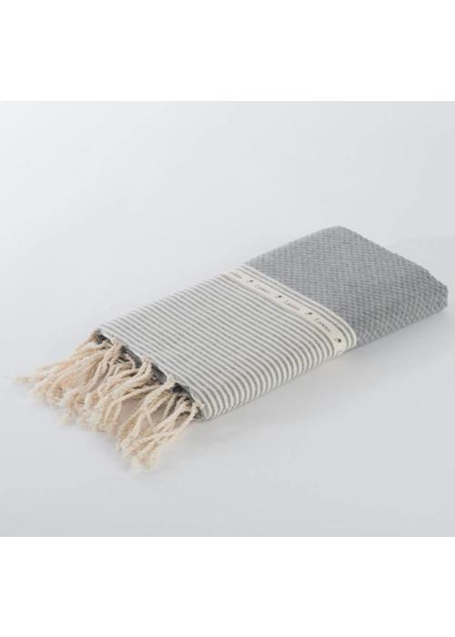 Lantara Fouta Shawl - Nid d'Abeille Grey Striped