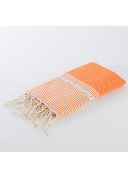 Lantara Fouta Shawl - Nid d'Abeille Orange Striped