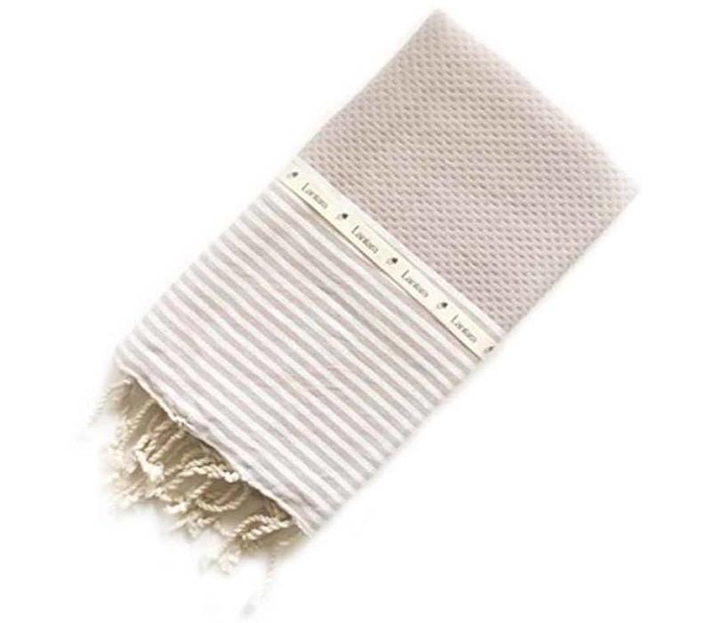 Fouta Shawl - Nid d'Abeille Taupe Striped
