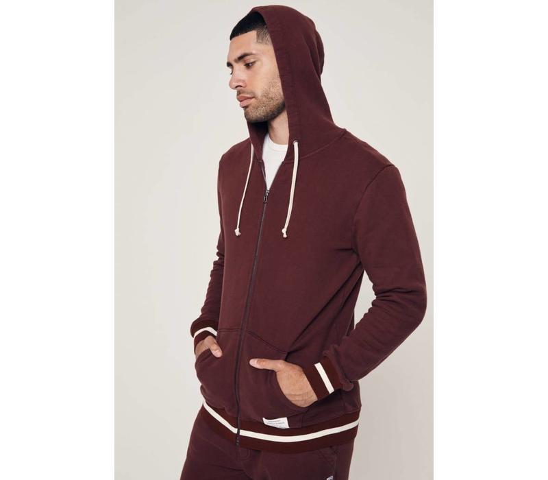 Spiritual Gangster Men's Varsity Zip Hoodie - Maroon