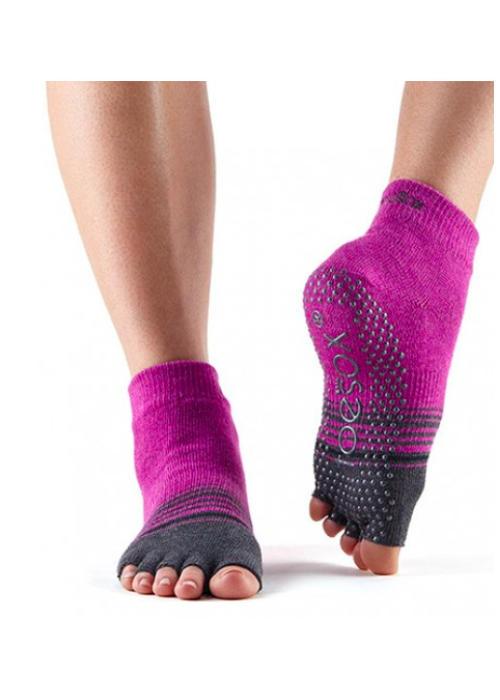 Toesox Toesox Yoga Sokken Enkelhoogte Open Tenen - Mulberry