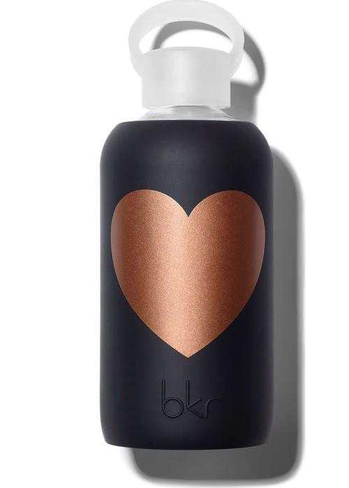 BKR BKR Glazen Waterfles 500ml - Copper Jet Heart