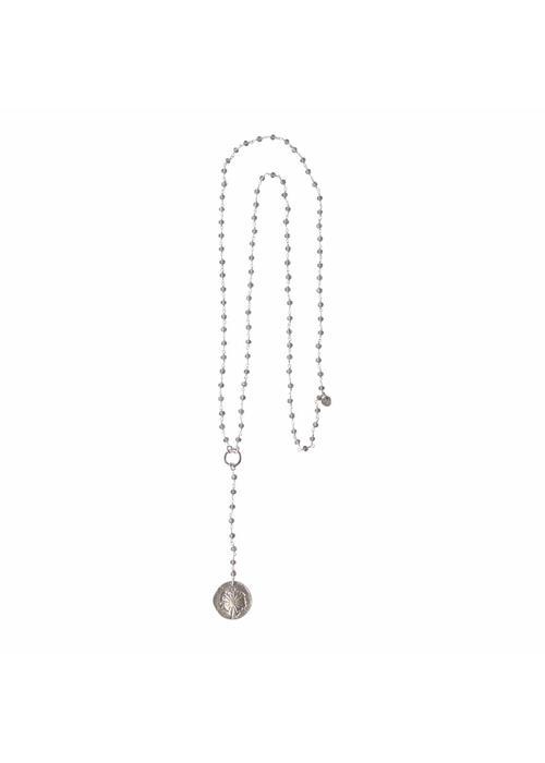 A Beautiful Story A Beautiful Story Rosary Long Necklace - Gray
