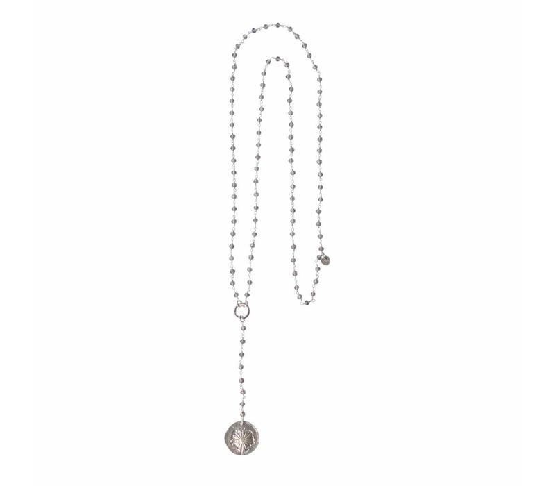 A Beautiful Story Rosary Long Necklace - Gray
