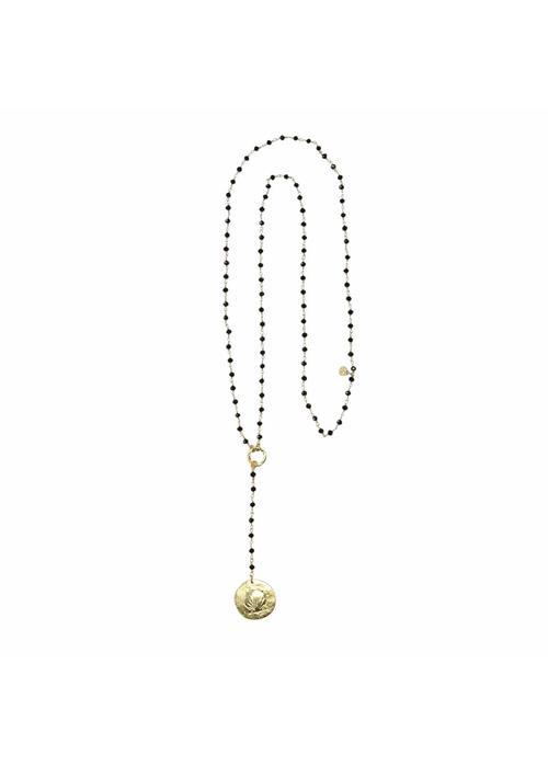 A Beautiful Story A Beautiful Story Rosary Long Necklace - Black