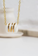 "O&E - Ketting goud/porselein ""rope"""