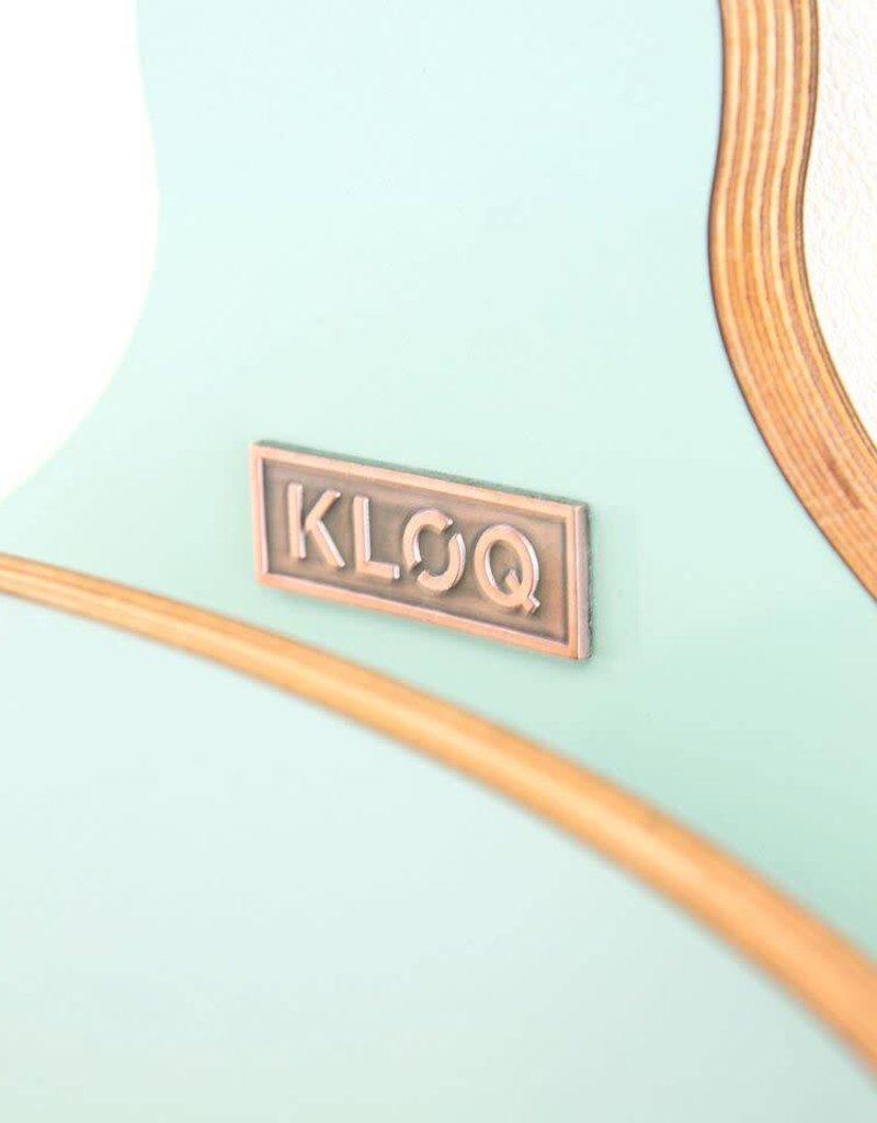 KloQ KLOQ - Turquoise klok met roze wijzers & slinger