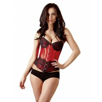 Red satin corset with lace