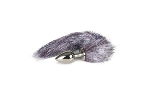 EasyToys ET Large silver plug with gray foxtail - 9.0 x 3.7 cm