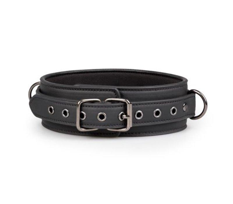 ET Zwart leren halsband met riem