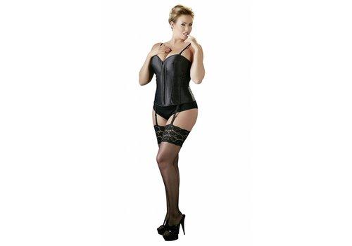 Cottelli Collection Zwart Plus Size Korset met Jarretels