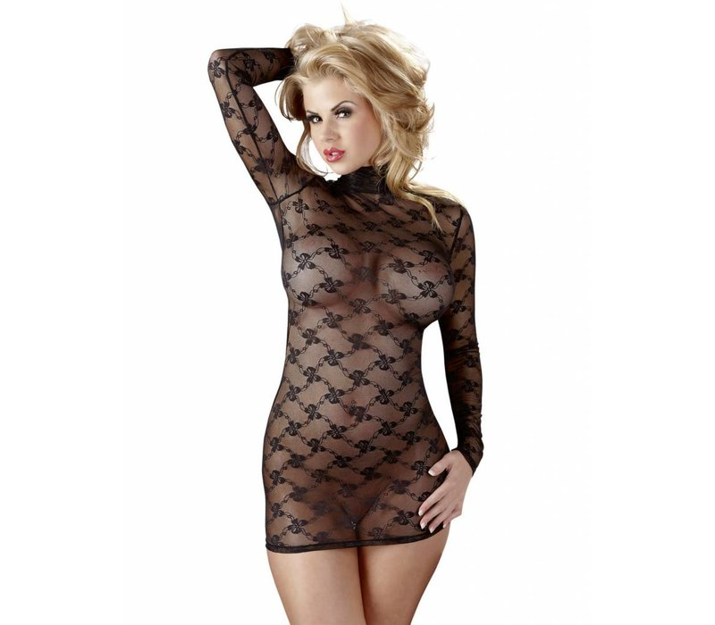 Transparent dress with long sleeves