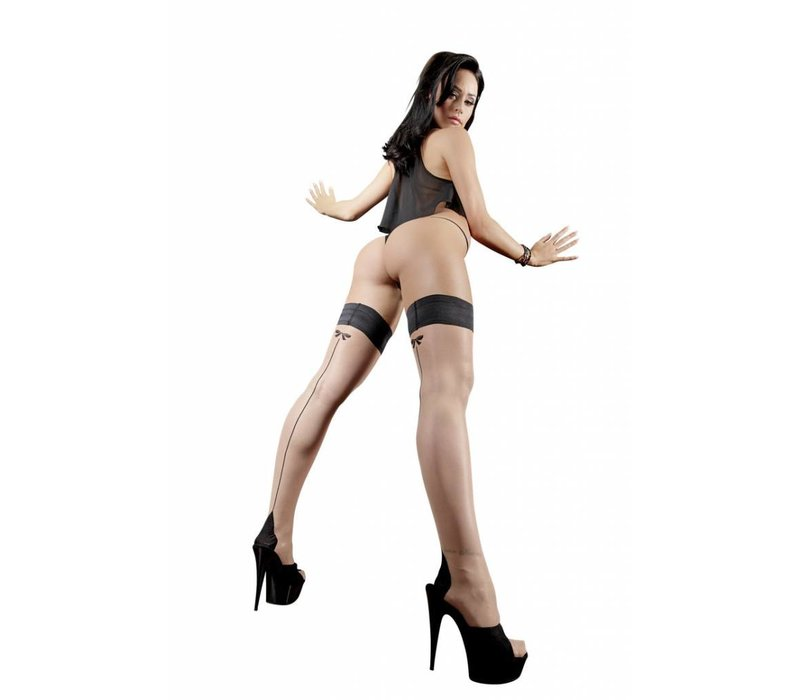 Black / color seam stockings with bow