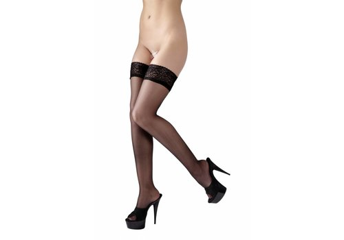 Cottelli Collection Zwarte hold-ups met kanten band