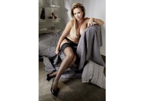 Cottelli Collection Zwarte Plus Size hold-ups met kanten band