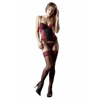 Black suspender stockings with dark red lace band