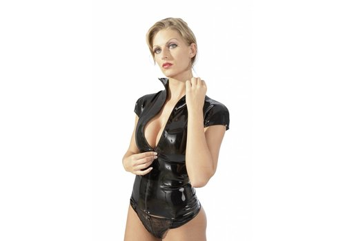 The Latex Collection Zwart latex damesshirt met rits