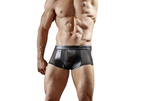 Svenjoyment Black wetlook boxer with semi-transparent power net