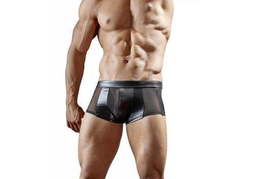 Svenjoyment Zwarte wetlook boxer met halfdoorzichtig powernet