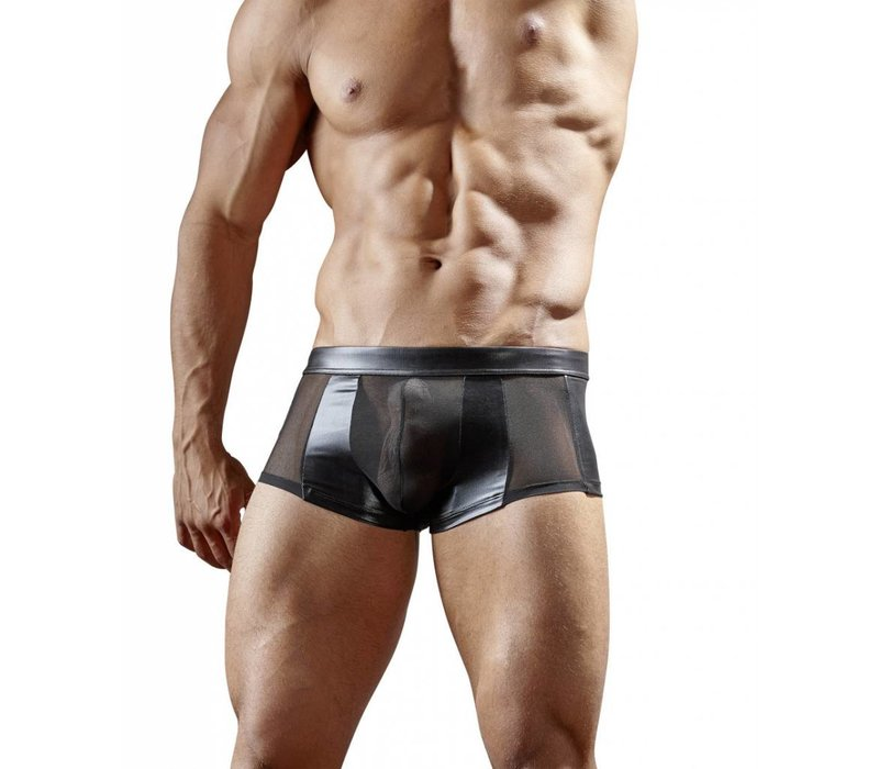 Black wetlook boxer with semi-transparent power net Size S