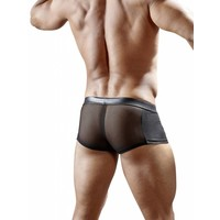 Black wetlook boxer with semi-transparent power net