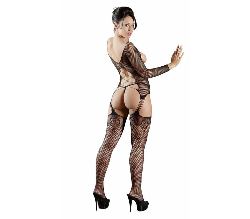 Black fishnet body stockings with attached S-L