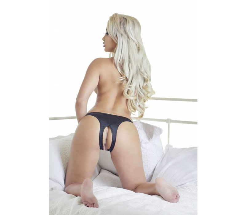 Black crotchless G-string with beads