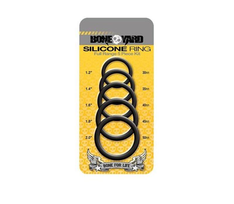 Bone Yard Silicone Cock Ring 5-Piece Set