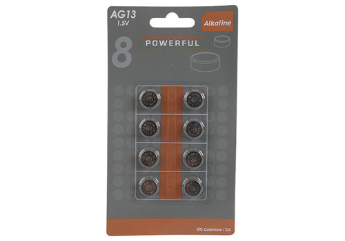 Powerful LR44 (AG13) 1.5V button cell battery - 8 pieces