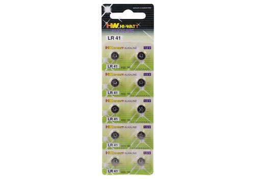 Hi-Watt LR41 (AG3) 1.5V button cell batteries - 10 pieces