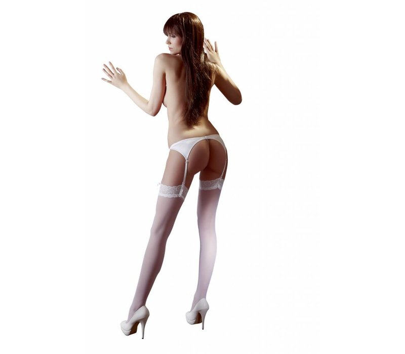 White suspender stockings with lace top