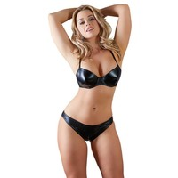 Wetlook bra and panty set - Briefs with zip