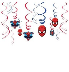 Hang decoratie Spiderman (12 stuks)