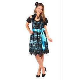 Dirndl jurk ''Viktoria'', Zwart-Turquois