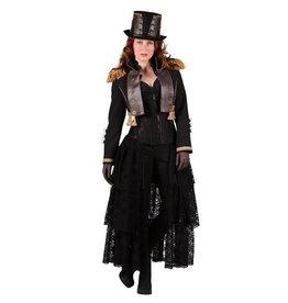 Steampunk jas dame kort, Zwart