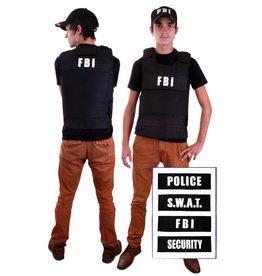 Kogelvrij vest + 4 badges (FBI, Security, Police, SWAT) one size