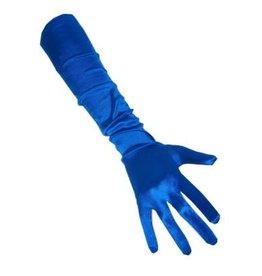 Handschoenen satijn blauw 48 cm