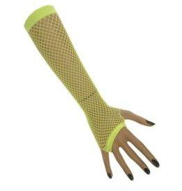 Nethandschoenen lang vingerloos fluor lichtgroen