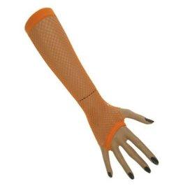 Nethandschoenen lang vingerloos fluor oranje