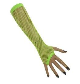 Nethandschoenen lang vingerloos fluor groen