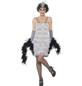 Korte Flapper Charleston jurk Zilver