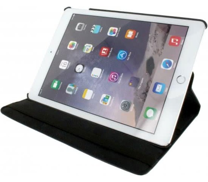 Roterende Lederen Stand Case Apple iPad Air 2 Zwart