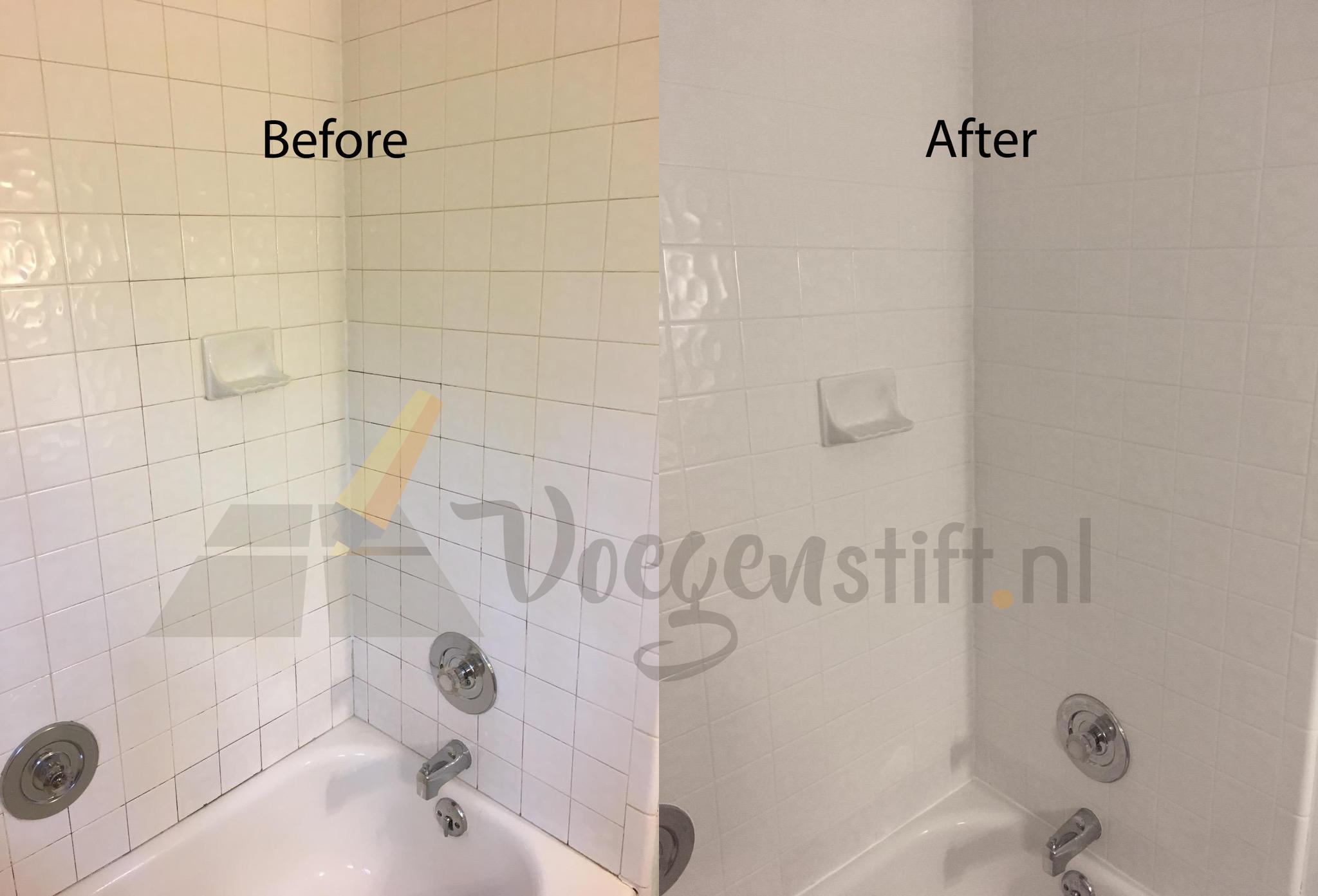 Tulipaint Voegenstift badkamer verven before en after