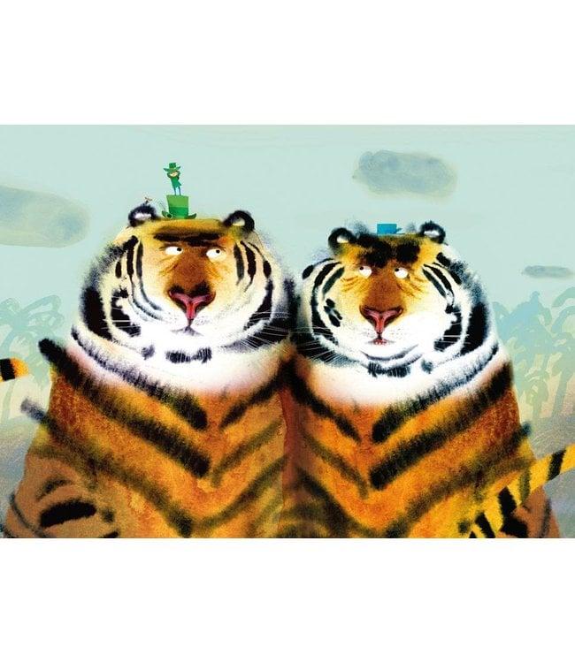 Mark Janssen Fototapete für Kinderzimmer Two Tigers, 389.6 x 280 cm