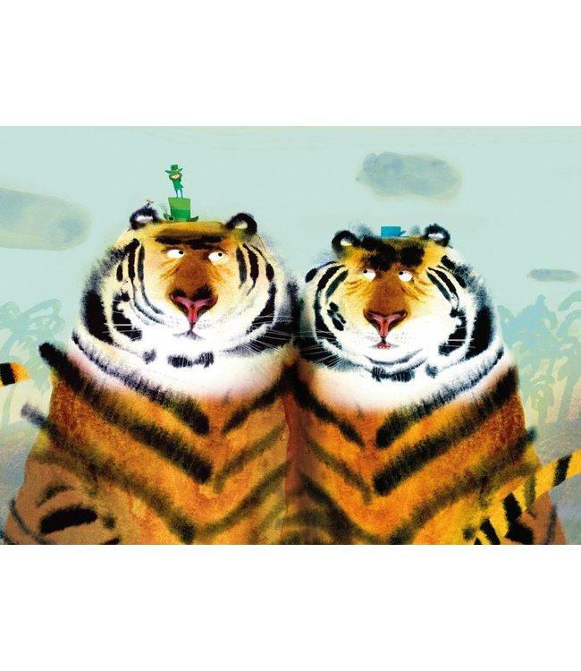 Mark Janssen Fotobehang Two Tigers, 389.6 x 280 cm