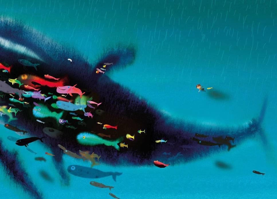 Behang Kinderkamer Vissen : Fotobehang kinderkamer swimming with whale 389.6 x 280 cm kek