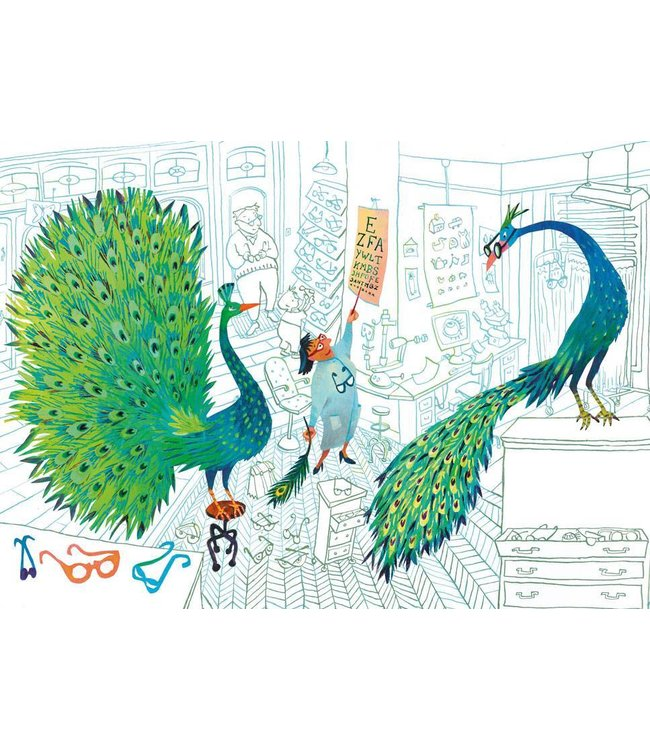 Alice Hoogstad Fotobehang Green Peacocks, 389.6 x 280 cm